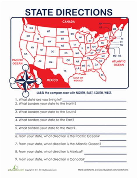 printable cardinal directions directions north south east or west worksheet