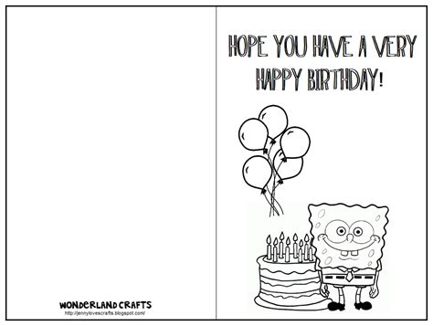 color in birthday card template 7 best images of printable folding birthday cards for
