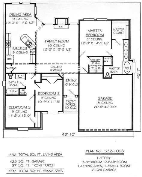 3 bedroom 2 bathroom house plans plan 1532 1003