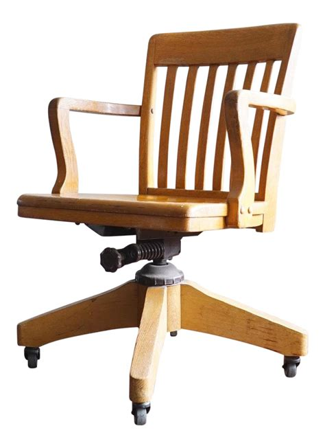 wooden rolling desk chair vintage wooden swivel rolling desk chair chairish