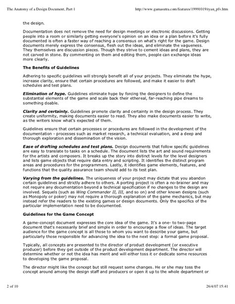 design concept document guide to creation of game concept document