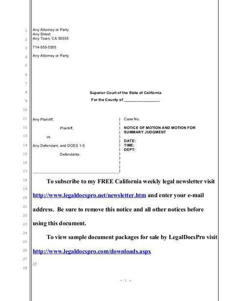 summary judgment motion template sle california motion for summary judgment in unlawful