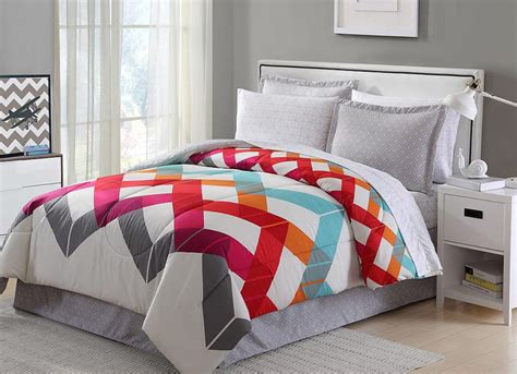 orange twin bedding red blue orange grey white geometric chevron 6 piece