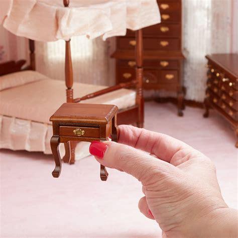 Dollhouse Bed Set Dollhouse Miniature Canopy Bedroom Set Bedroom Miniatures Dollhouse Miniatures Doll