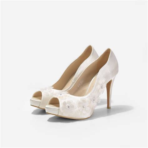 dahlia ivory wedding shoes ivory chiffon floral pumps