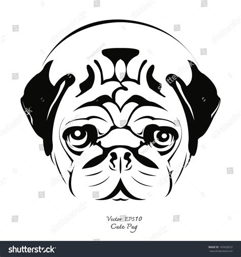 pug black and white drawing black white drawing pug vector stock vector 145428532