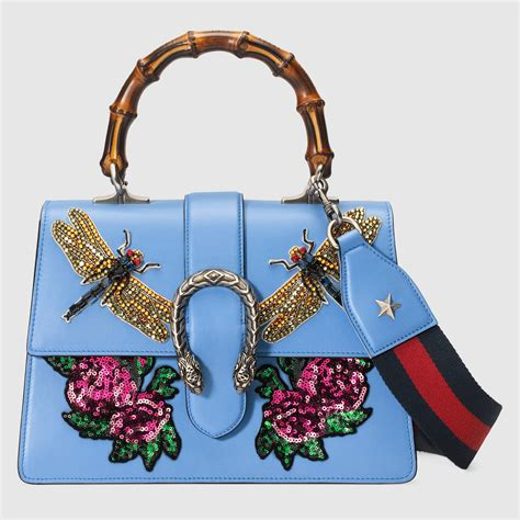 Gucci Gucci Dionysus Bamboo Handbags 8903 Dionysus Embroidered Leather Top Handle Bag Gucci