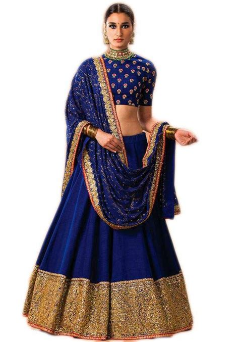 Hip Home Decor by Buy Blue Embroidered Banglori Lehenga With Dupatta Online