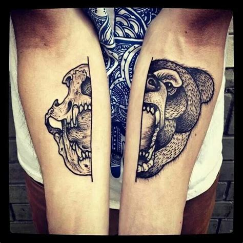 bear skull tattoo barbe rousse dotwork modern
