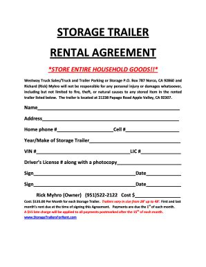 self storage rental agreement template trailer rental agreement forms and templates fillable