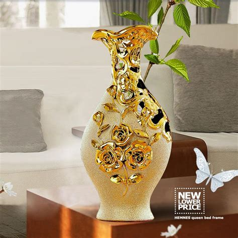 ceramic home decor high quality jingdezhen ceramic gold plating vase for home