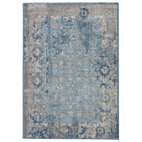 Blue Area Rug 9x12 Jaipur Modern Vintage Look Pattern Blue Polyester Area Rug 9x12