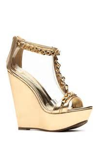 gold wedges shoes breckelles metallic gold chain wedge cicihot wedges