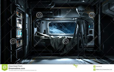 spaceship bed alien visit stock illustration image 59155018