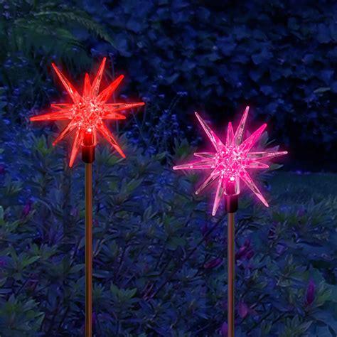solar powered christmas decoration star stake lights 2