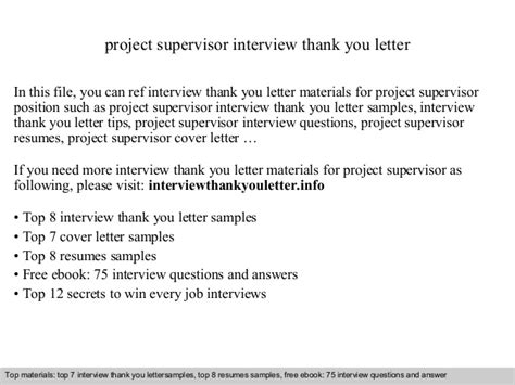 Thank You Letter Supervisor Project Supervisor