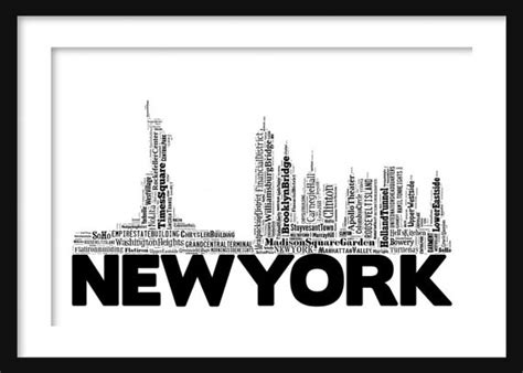 typography nyc new york skyline 2 word typography print poster