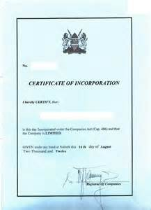Certificate Of Incorporation Template by Eregulations Kenya