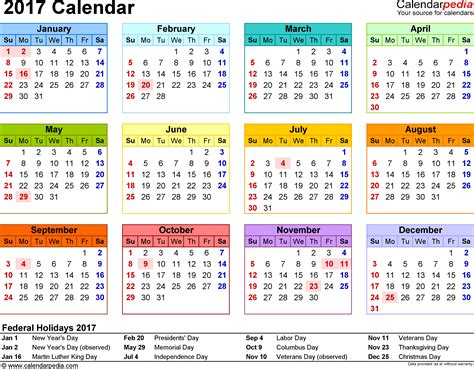 Kalender Dinding 1 2 Sisi Color 2 template 8 2017 calendar for word year at a glance 1 page in color landscape orientation