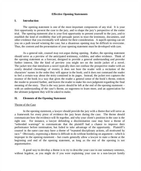 exles themes for opening statements 7 opening statement exles sles