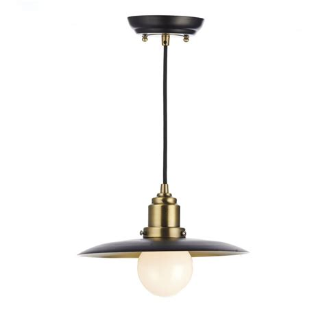 Dar Pendant Lights Dar Han0154 Hannover Pendant 1 Light Black Antique Brass Pendant
