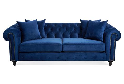 blue tufted sofa 90 quot tufted velvet sofa blue
