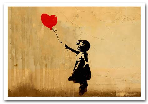 Large Wall Murals Uk love heart balloon left banksy framed art giclee art print
