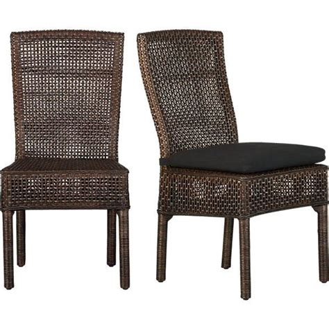 wicker barrel dining chair cabria honey brown woven side chair crate and barrel
