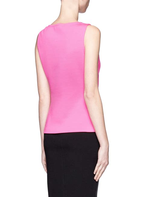 pink knit top lyst st wool sleeveless knit top in pink
