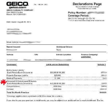 Automobile Insurance Geico Auto Declaration Page Austinroofing Us Renters Insurance Declaration Page Template