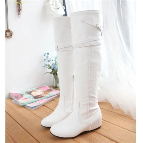 Wedges Pin Merak 4 5cm wedge mid heel slip on white patent leather martens boots