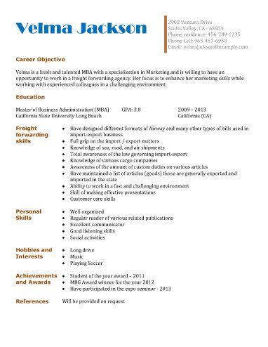 freight forwarding agency resume template resume