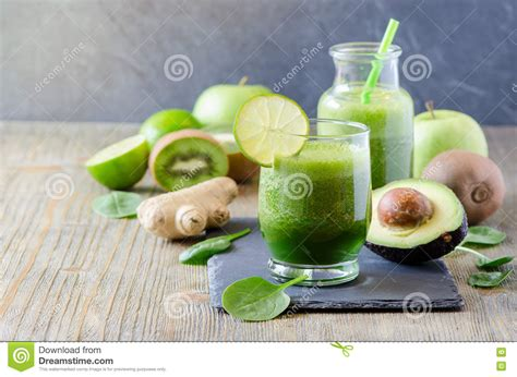 Lime And Kiwi Detox Drink by Green Fresh Detox Vegan Smoothie Healthy Beverage Energy