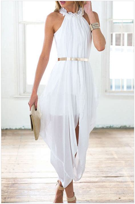 New High Low Fit Dress free shipping 2016 new white sheer chiffon high low dress na60613 one size