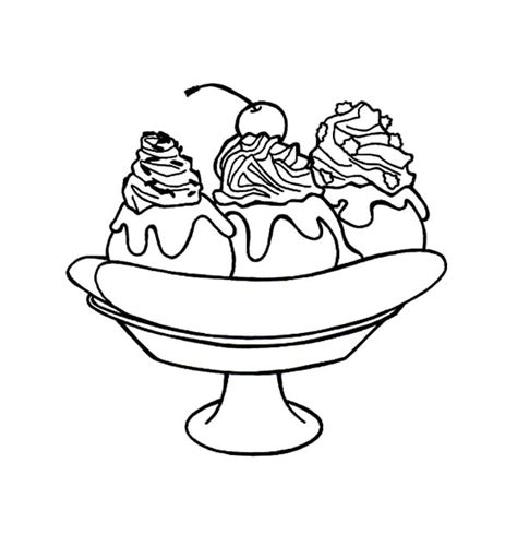 Free Coloring Pages Of Outline Of A Banana Banana Split Coloring Page