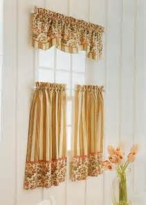Kitchen Curtains Valance Anns Home Decor And More Vintage Floral Stripe Tiers Valance Kitchen Curtains