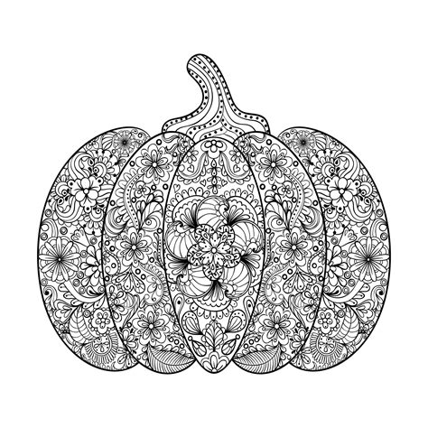 halloween coloring pages detailed halloween complex pumpkin with flowers and leaves by