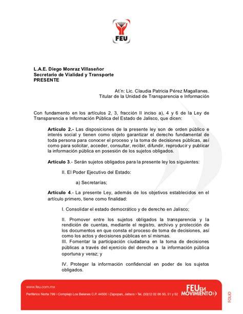 formato de solicitud de informacion publica oficio de solicitud de informacion