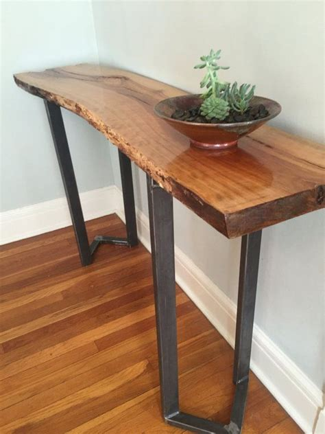 Live Edge Bar Table Sofa Table Entryway Table Live Edge Slab Bar Table Console Table Rustic Industrial Steel Chevron