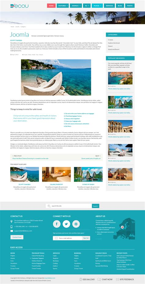 joomla component page preview sj decou travel joomla template for k2 component