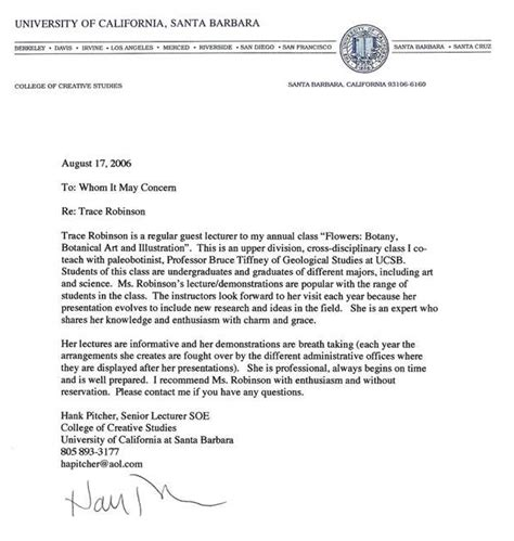 Recommendation Letter For Uc Application Recommendation Letter From Uc Santa Barbara