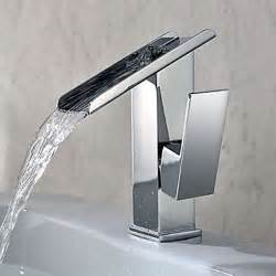 Bathroom Faucets Modern Single Handle Contemporary Solid Brass Waterfall Bathroom Sink Faucet Modern Bathroom Sink