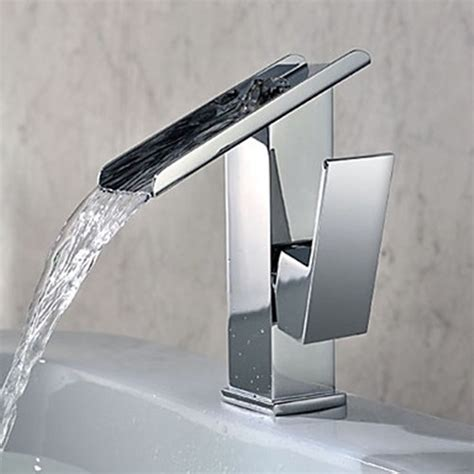Contemporary Bathroom Fixtures Single Handle Contemporary Solid Brass Waterfall Bathroom Sink Faucet Modern Bathroom Sink