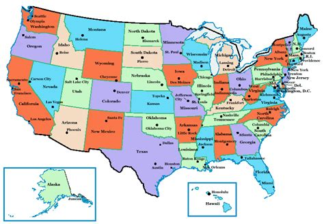 us map of all the states state capitals