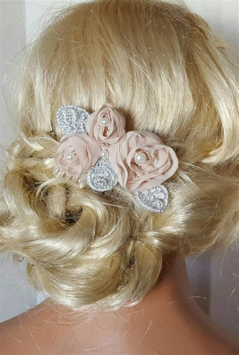 hair chiffon blush chagne bridal hair comb chiffon floral hair clip