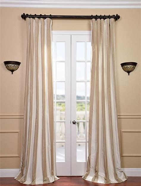 silk taffeta curtains cappuccino faux silk taffeta stripe curtain contemporary