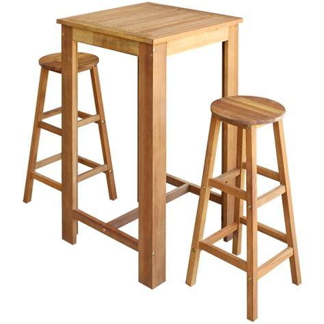 Bar Table And Stool Set 243889 Vidaxl Three Bar Table And Stool Set Solid Acacia Wood Vidaxl Co Uk
