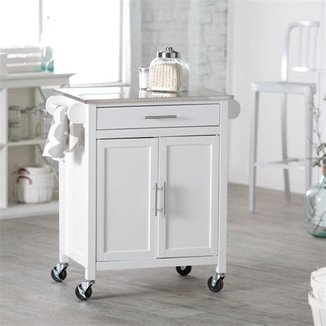 white kitchen island with stainless steel top belham living white mid size kitchen island with stainless steel top kitchen islands and carts