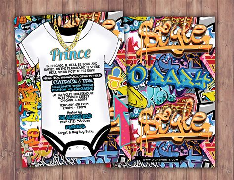 Graffiti Does Invitations by Fresh Prince Baby Shower Hip Hop 90s Push It Shower