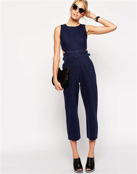 Legged Jumpsuits by Asos Denim Wide Leg Cut Out Jumpsuit In Indigo In Blue